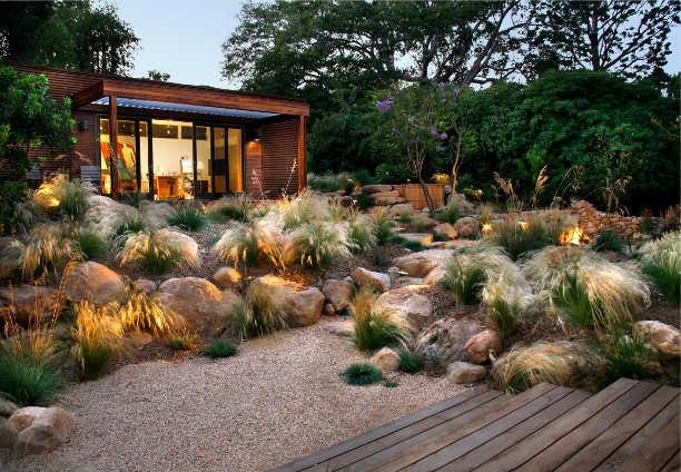 Grass garden - stipa tenuissima – myoporum parvifolium - ipe deck – landscape mounds – gravel walk