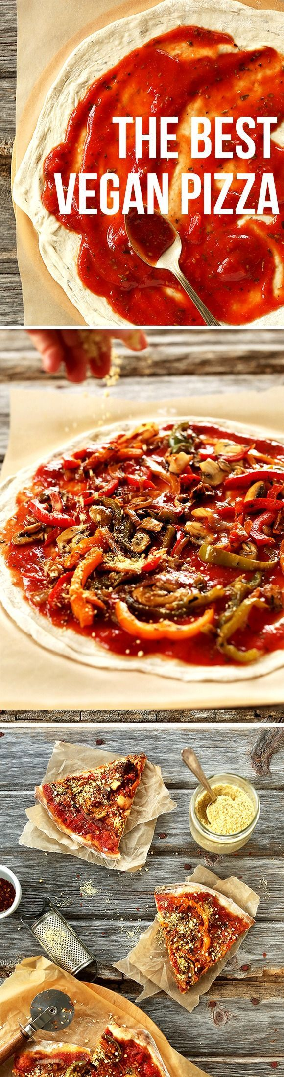 My absolute FAVORITE Vegan Pizza! A simple trick makes all the difference in this savory veggie pie. You'll never need delivery again! #vegan