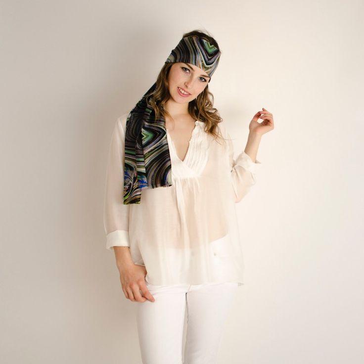 Etole Soie Spirale#fashion#accessoire#femme#foulard#textile intelligent#fleurs de Bach#scarf#bach flowers#emotis