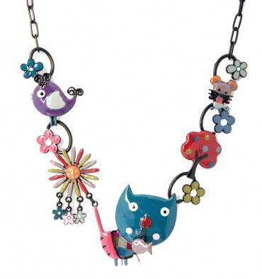 Collier chat bleu oscar, marque Lol bijoux