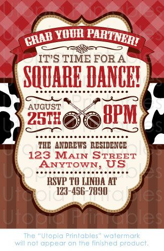 Square Dance Invitation Rustic Country Western by UtopiaPrintables