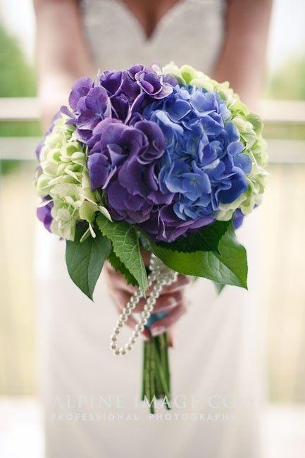 white blue purple hydrangea wedding bouquet