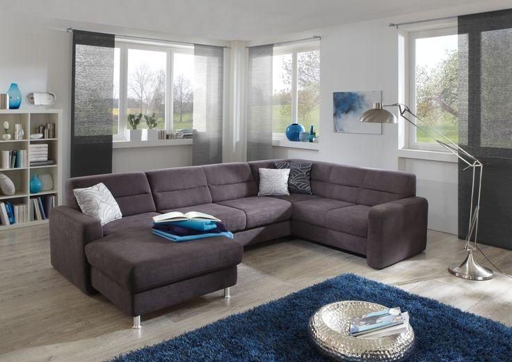 Aspect moderní sedací souprava v šedé látce s lenoškou / living room sofa
