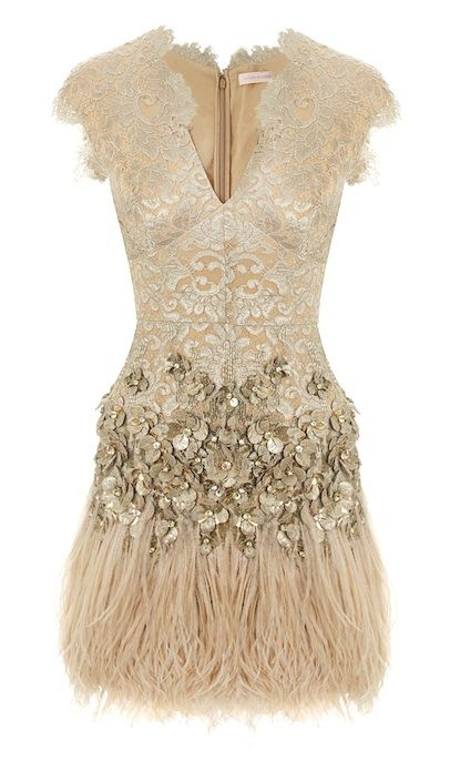 Matthew Williamson Lacquer Lace Feathered Dress