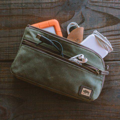 8c700c2ba3c0 Denver Waxed Canvas Zipper Gear Pouch - Medium | Green | (A2) Other ...