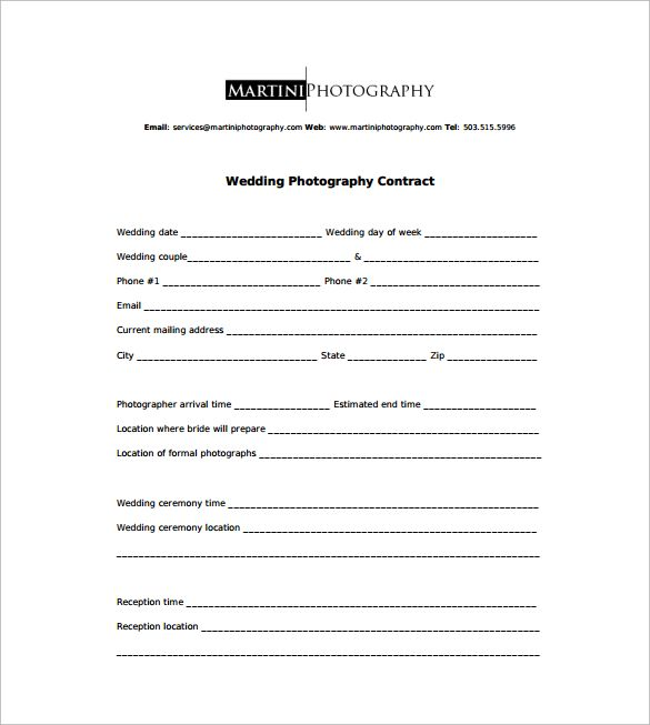 Photography Contract Pdf - Canelovssmithlive.Co
