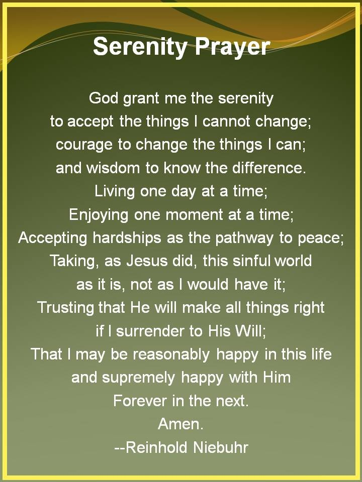 Serenity Prayer, interpret as you will. i think of it as the motivation inside of me, and the forces i cant explain.