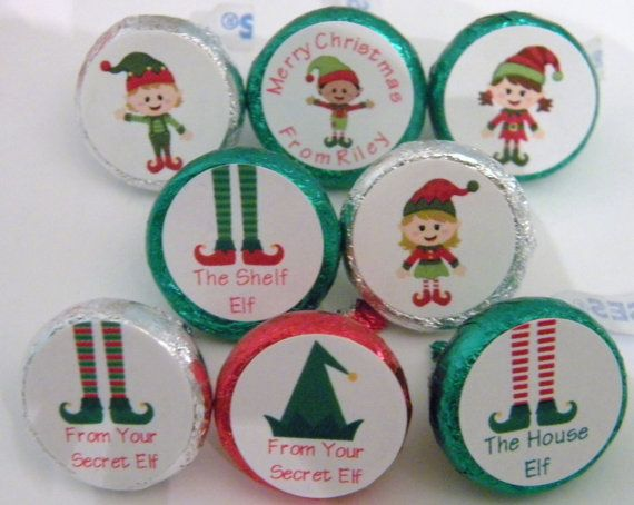 Christmas elf hershey kiss stickers elves kisses labels favors