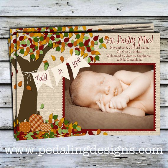 Hey, I found this really awesome Etsy listing at https://www.etsy.com/listing/166929190/printable-birth-announcement-fall-in