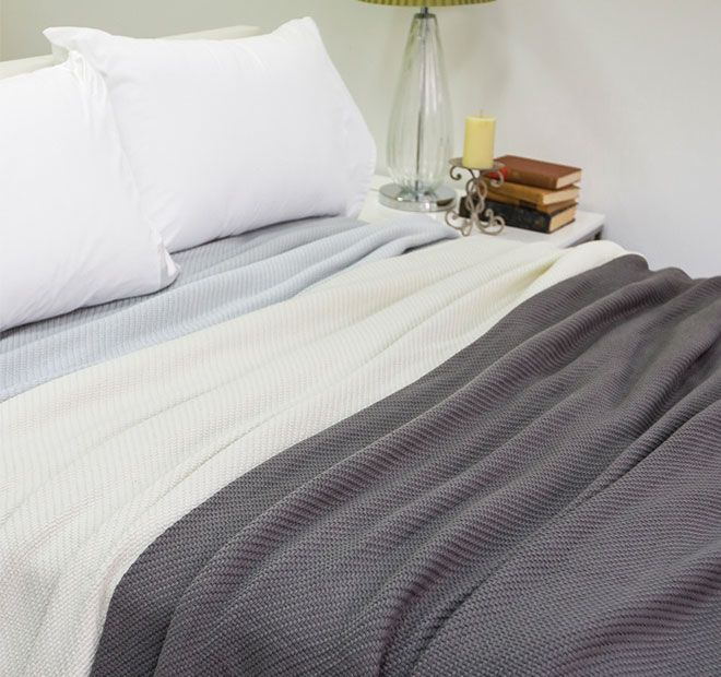 Cosgrove BAMBURY - 100% cotton, Basket weave textured pattern, Lightweight yet extra warm.  Available in: Single Bed - 180cm x 240cm, Queen to King Bed - 240cm x 260cm - #blankets