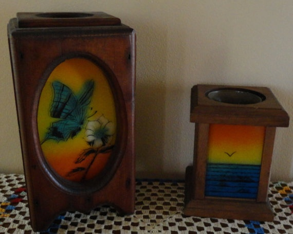 Vintage Retro Wood Box Candle Holders With Sea by tennesseehills, $14.00