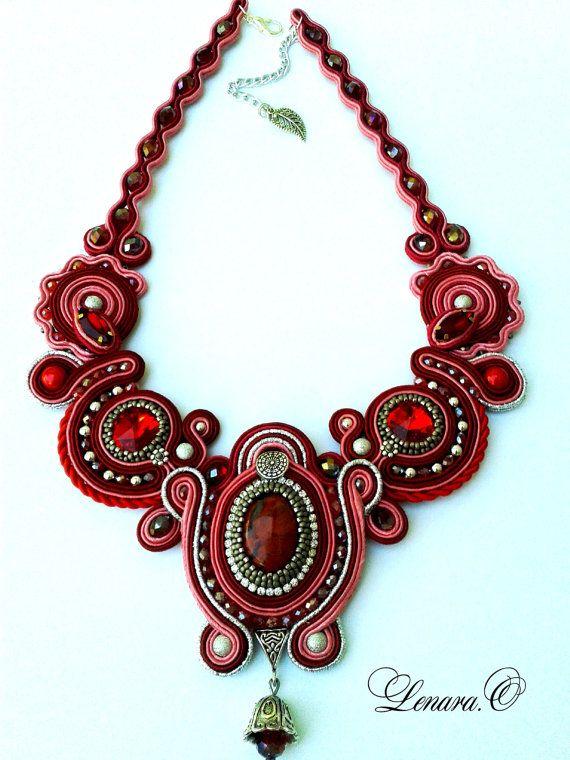 Soutache necklace red pink silver colors. от LENARAOSMANSoutache