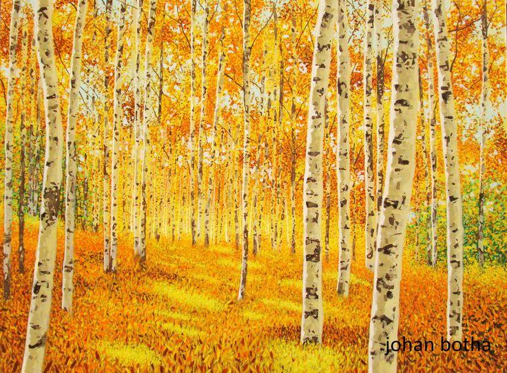 autumn birch forest, acrylic on canvas