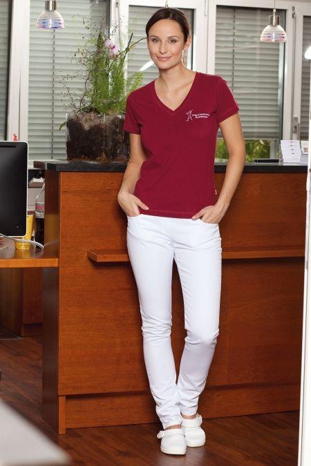 Hose Lady Megan - Damenhose weiß in 5-Pocket-Form, elastisches Rippstrickbündchen mit Kordeltunnelzug, schmales Bein, enge Fußweite, elastisches Gewebe für perfekten Tragekomfort, zwei seitliche Eingrifftaschen, zwei aufgesetzte Gesäßtaschen.