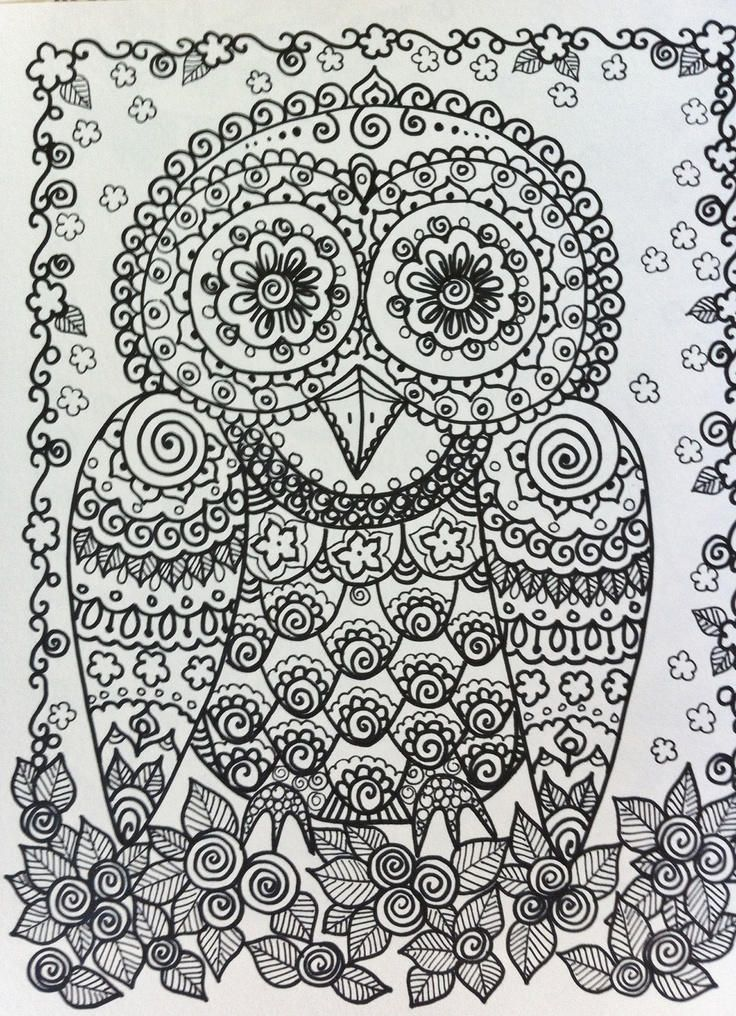 Coloring Page For Adults Digital Coloring Page Owl Etsy Owl Coloring Pages Animal Coloring Books Animal Coloring Pages