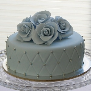 Silvery Blue Quilted Roses Cake