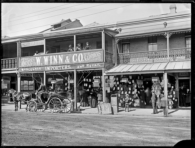 W Winn and Co Drapers and Clothiers, Hunter Street, Newcastle, NSW, 3 August 1897 by Cultural Collections, University of Newcastle, via Flickr Click on pic for more from this era