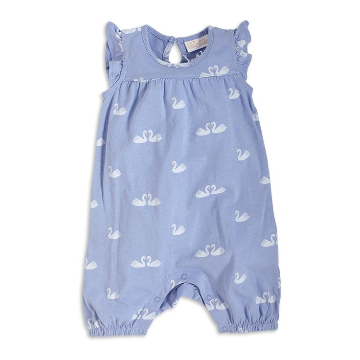 Comfy, soft and totally adorable. A lavender blue sleeveless romper with short legs, decorated with cute swans.