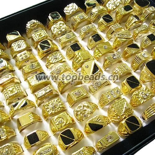 New Copper Gold Plated Styles mixed Finger Ring, Men,mixed designs finger ring, Sold by Box #Affiliate