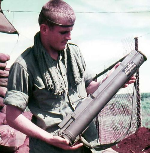A G.I. shows off a M72 LAW