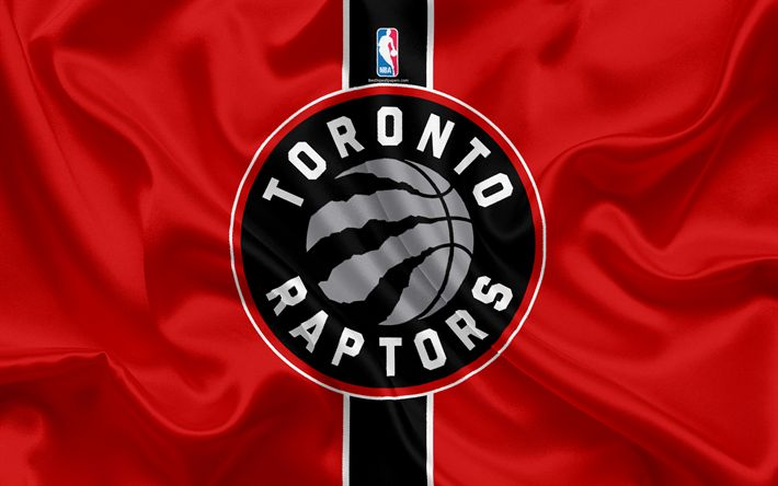 Download wallpapers Toronto Raptors, basketball club, NBA, emblem, logo, USA, National Basketball Association, silk flag, basketball, Toronto, Canada, US basketball league