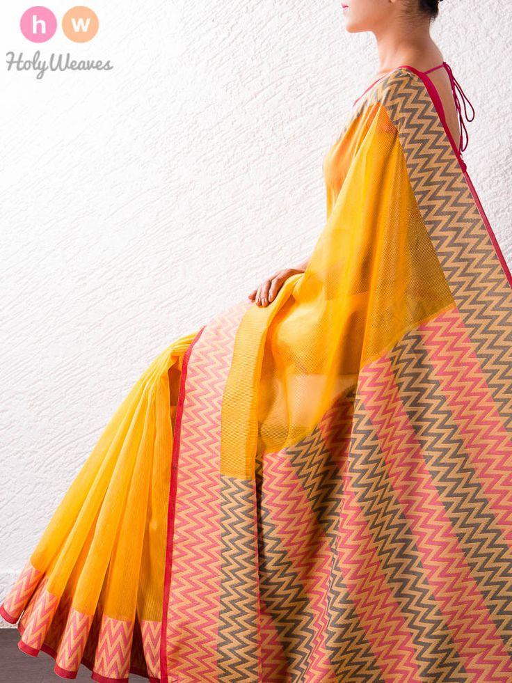 Yellow Art Cotton Silk Saree – HolyWeaves