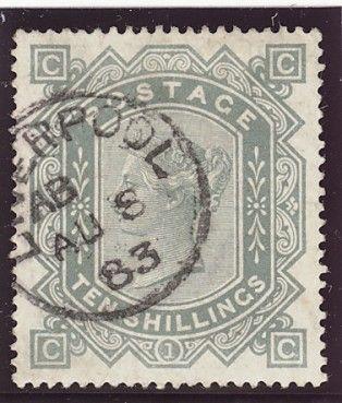 Великобритания, SG 135, 1883 год Зелено-серая гашеная марка под номером 135 по каталогу Стенли-Гиббонса имеет каталожную стоимость 7000 фунтов стерлингов.