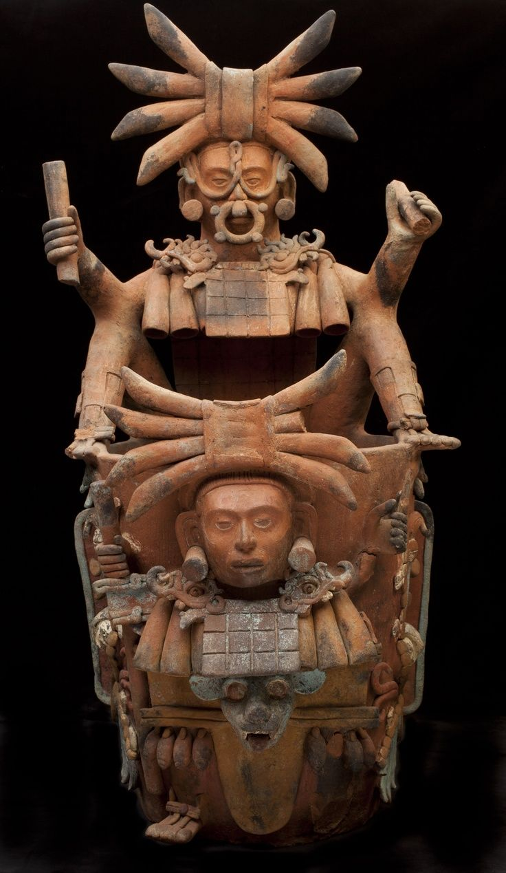Incense burner stand depicting the Jaguar God of the Underworld