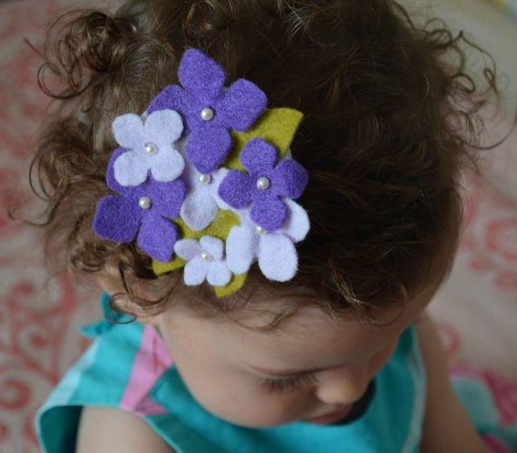 Handmade Hydrangea Felt Barrette. In Violet by ForeverHeartFelt