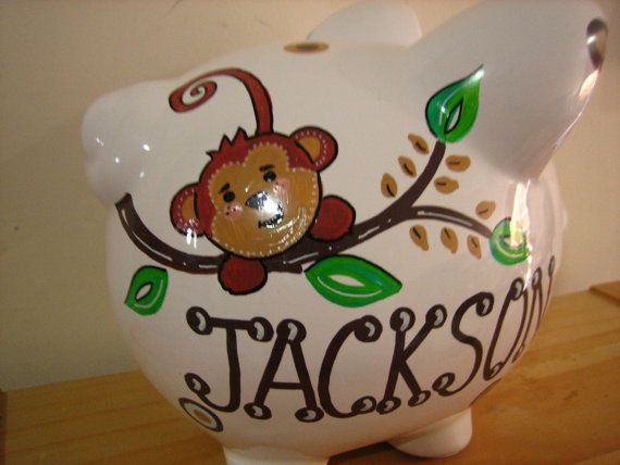Personalized Large piggy Bank Monkey  by KUTEKUSTOMKREATIONS