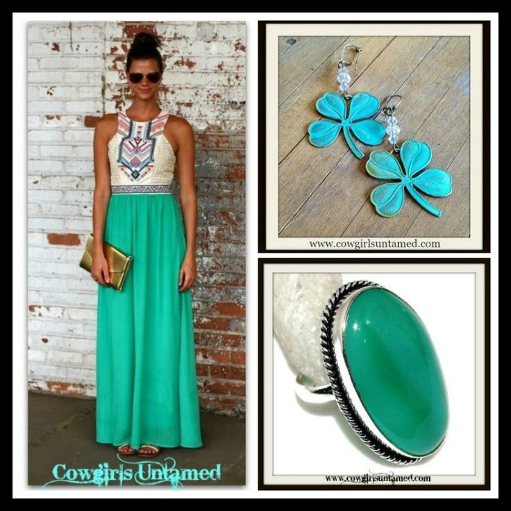 COWGIRL GYPSY RING  Green Lace ONYX RING Silver Antique, Patina Lucky Clover Earrings, Aztec N' Lace Maxi Dress  #ring #gemstone #vintage #jewelry #silver #SterlingSilver #large #earrings #patina #crystal #clover #dress #lace #maxidress #aztec #wedding #cowgirl #style #bohemian #gypsy #shopping #boutique #beautiful #fashion