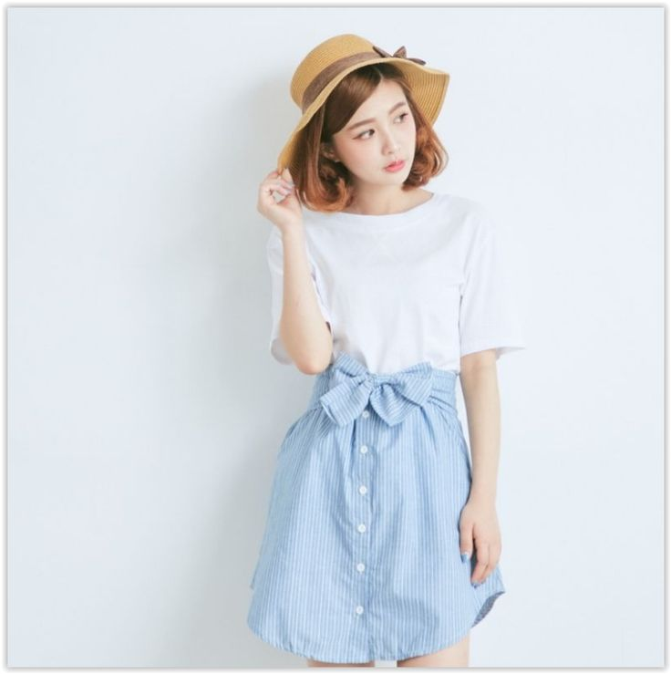 BAIMOMO - Set: Plain Short-Sleeve T-Shirt + Stripe Buttoned Skirt