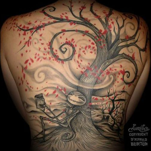 The Skellington Tree by Aurelio. Tree tattoos are extremely popular nowadays, and as they grow in popularity, so do the innovative styles they are rendered in.