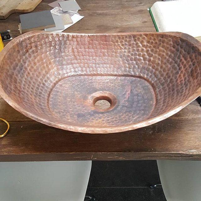 Rustic Copper Bathtub Vessel Sink Above Counter Handles Bathroom Renovation Copper Bathtubs Sink Vanity Wash Basin