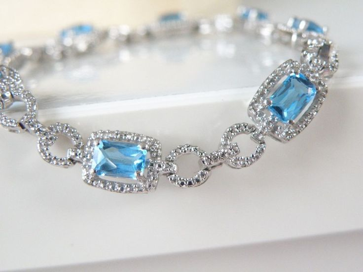 "Estate Sterling Silver 925 Genuine Blue Topaz Tennis Station Bracelet 7.5"" #Designer #Tennis #BlueTopazJewelry #SomethingBorrowedSomethingBlue #WeddingBracelet"