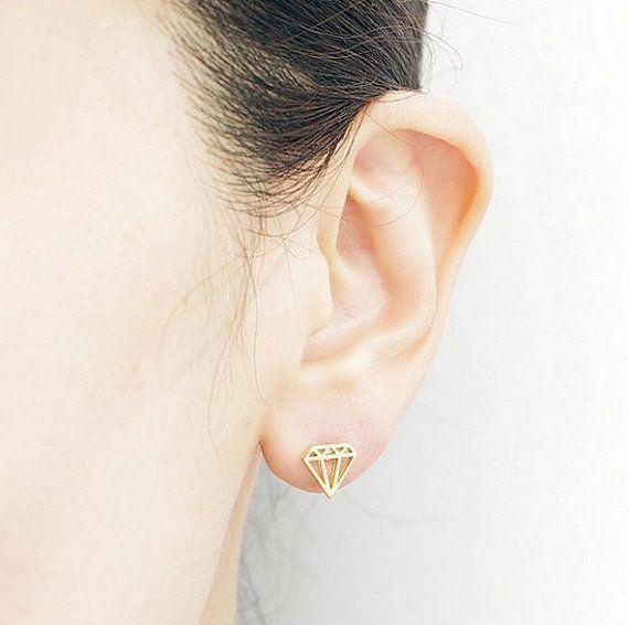 Minimalistic Tiny Diamond Shaped Stud Earrings  18k by MinimalMeow