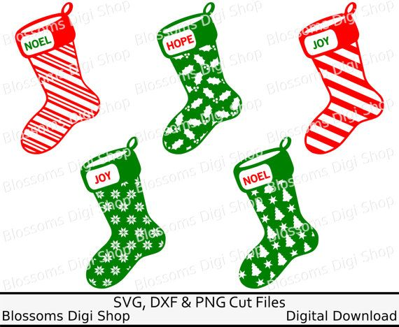 Christmas stocking svg cut files digital by BlossomsDigiShop