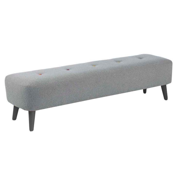 Our 'Hockney' range is designed by Ben de Lisi and combines classic, mid-century styling with a contemporary finish. This footstool features angled feet to enhance the retro look and quirky, multi-coloured button detailing which is typical of the designer.