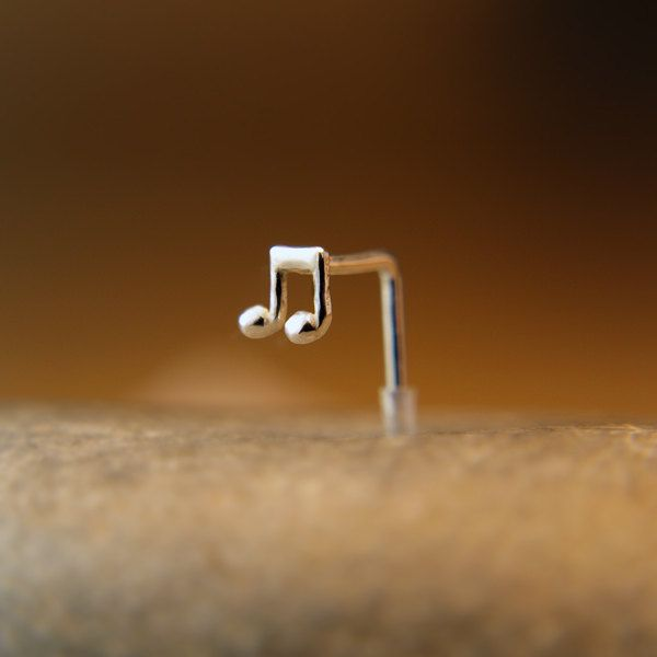 Nose Stud Music note Customize Sterling /nose studs, nose rings, nose hoops, nose pins,16 gauge,18 gauge,20 gauge,21gauge,nose piercing, by PicoNosePiercing on Etsy