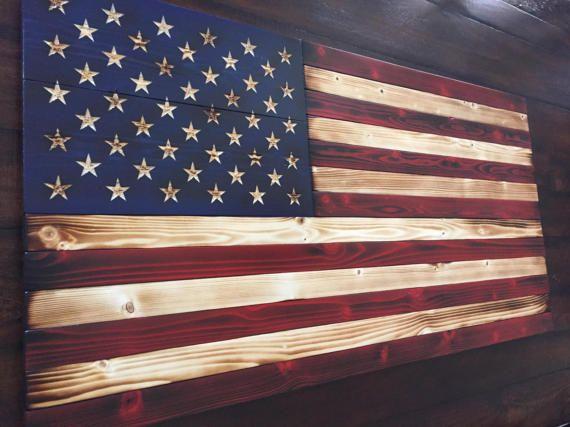 Old Glory Battlefield Flag Rustic American Wood Art Sign Wooden
