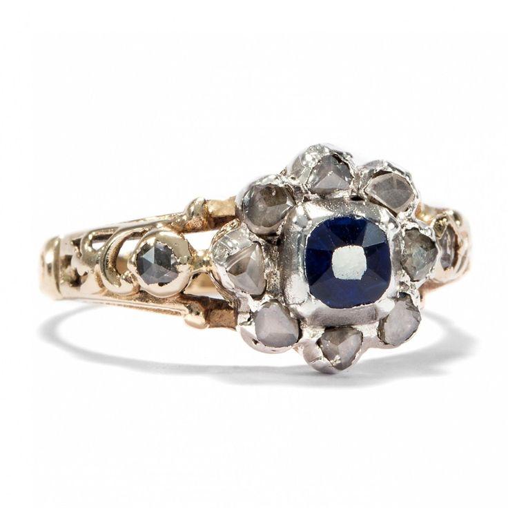 anello rococò con rose di diamanti e zaffiro, primo Settecento