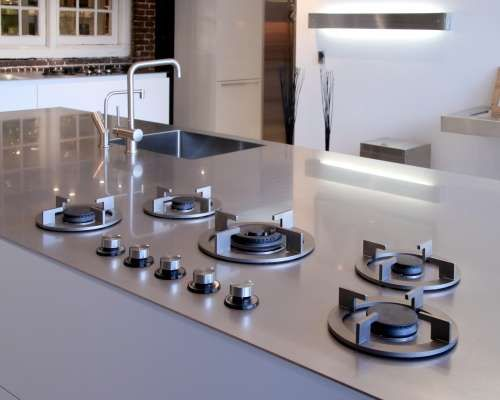 The ABK InnoVent I-Cooking system Redefines Stove Versatiliy (GALLERY) Interior Innovation award 2011 and reddot design award winning i-Cooking in 4 mm stainless steel worktop by ABK-innovent.com