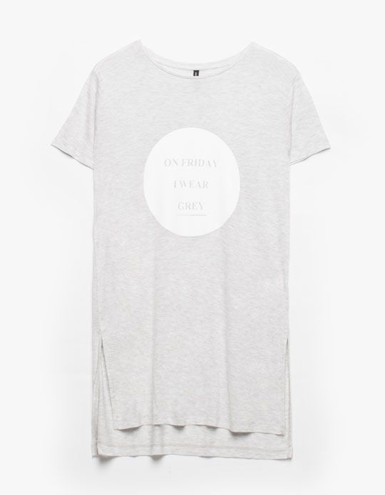 Maxi top with text detail - T-SHIRTS - Stradivarius United Kingdom