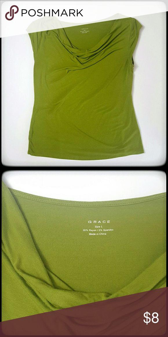 "Grace cowl neck green short sleeve top Chest 19""  Length 24"" Grace Tops"