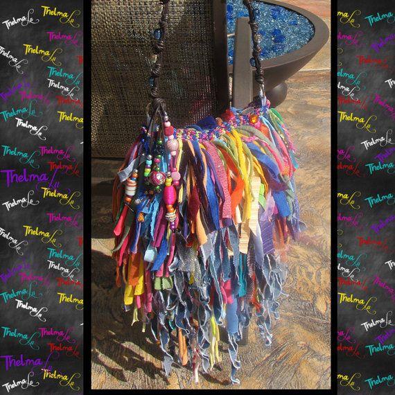 Ultra Fringe Rag Handbag In Denim & Mulitable by iLoveThelmaLu, $175.00