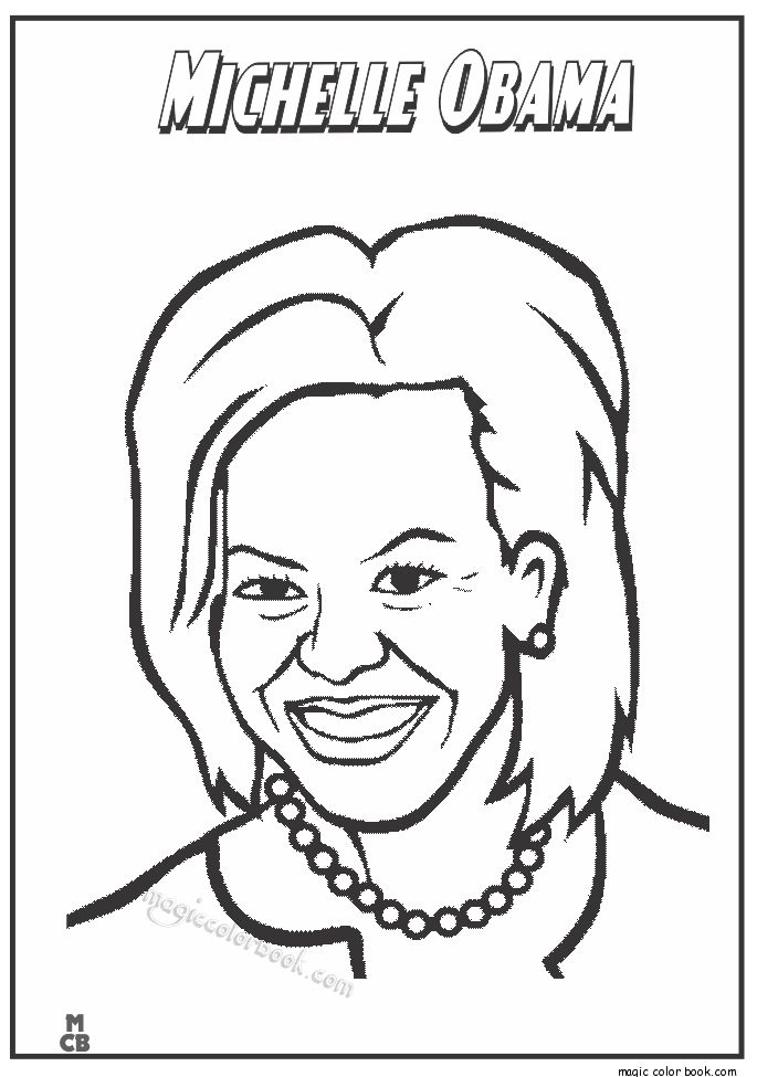 Famous People coloring pages Michelle Obama | Black ...