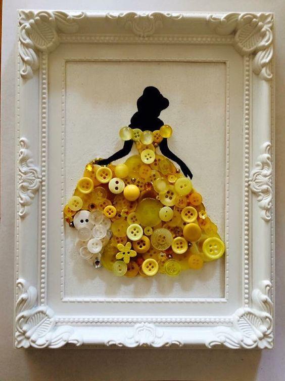 Disney Princess Framed Button Canvas.