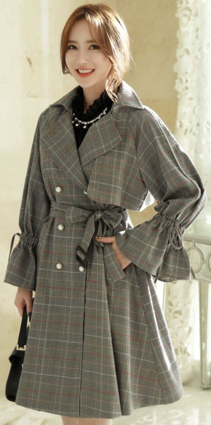 StyleOnme_Check Print Double-Breasted Pearl Button Trench Coat #feminine #check #trench #koreanfashion #kstyle #kfashion #autumnlook
