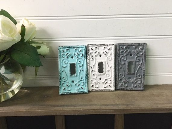 $8.99 Light Switch Plate/SSLID0105/Country Chic/Farmhouse/Outlet Cover/Shabby Chic/French Country   Single cast  WHITE DISTRESSED STAIRS WALL TheShabbyStore
