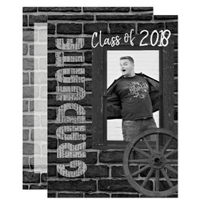 Black and White Photo Vintage Graduation Card - graduation party invitations cards custom invitation card design party